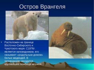 Остров Врангеля Расположен на границе Восточно-Сибирского и Чукотского моря.