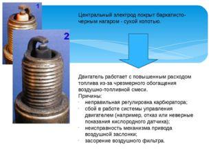 Центральный электрод покрыт бархатисто-черным нагаром - сухой копотью. Двигат