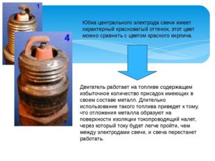 Юбка центрального электрода свечи имеет характерный красноватый оттенок, этот