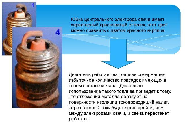Юбка центрального электрода свечи имеет характерный красноватый оттенок, этот...