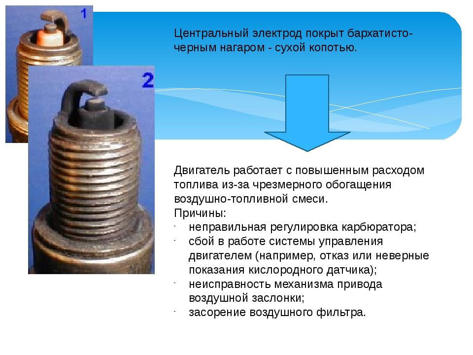Центральный электрод покрыт бархатисто-черным нагаром - сухой копотью. Двигат...