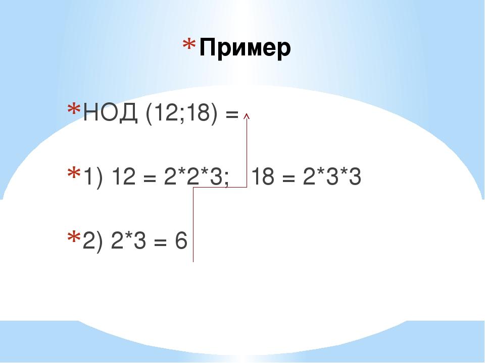 Пример НОД (12;18) = 1) 12 = 2*2*3; 18 = 2*3*3 2) 2*3 = 6
