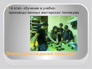 Этапы прохождения практики 1й этап- обучение в учебно-производственных мастер