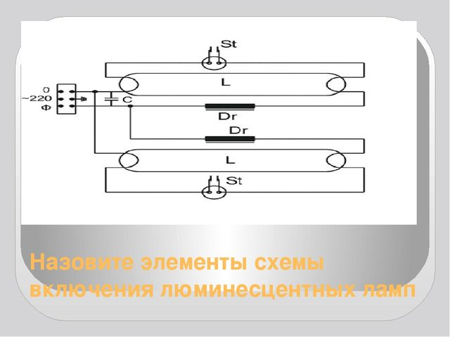 Назовите элементы схемы включения люминесцентных ламп