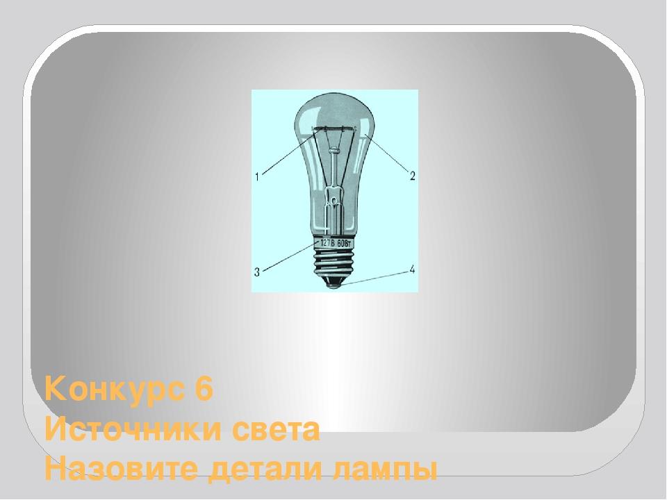 Конкурс 6 Источники света Назовите детали лампы накаливания