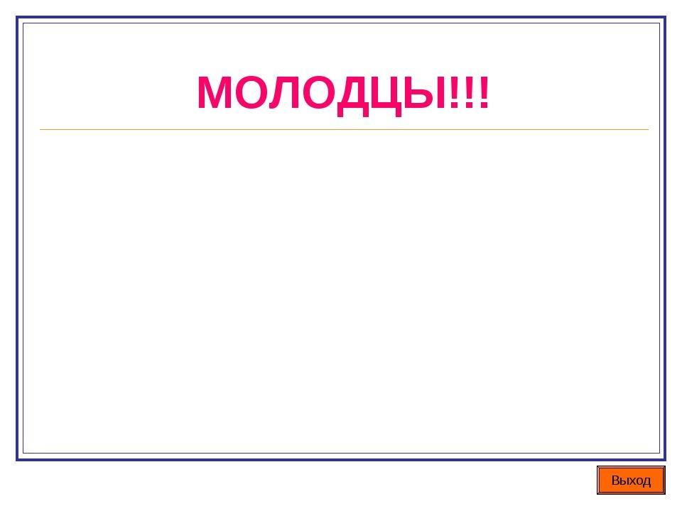 МОЛОДЦЫ!!! Выход