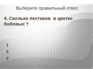 Выберите правильный ответ. 4. Сколько пестиков в цветке бобовых ? 1 3 6