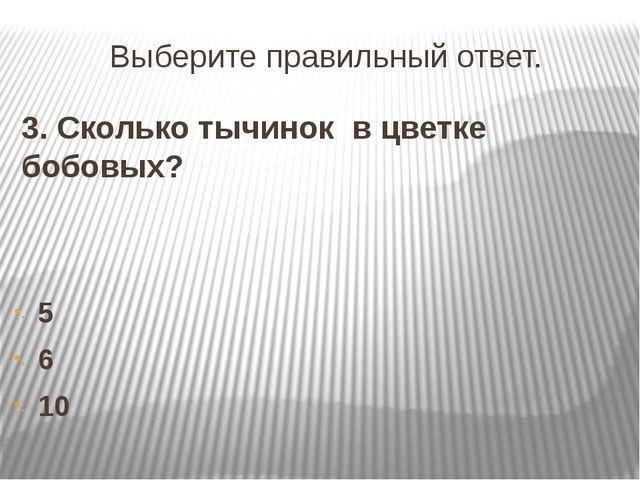 Выберите правильный ответ. 3. Сколько тычинок в цветке бобовых? 5 6 10