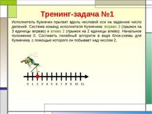Тренинг-задача №1 Исполнитель Кузнечик прыгает вдоль числовой оси на заданное