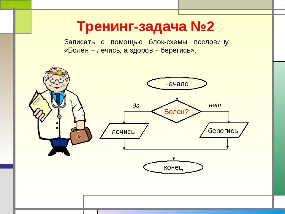 Тренинг-задача №2 Записать с помощью блок-схемы пословицу «Болен – лечись, а...