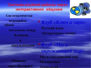 Система клубной работы через интерактивное общение Клуб «Ключ и заря» Русский