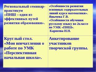 Региональный семинар-практикум «ПНШ – один из эффективных путей развития обра