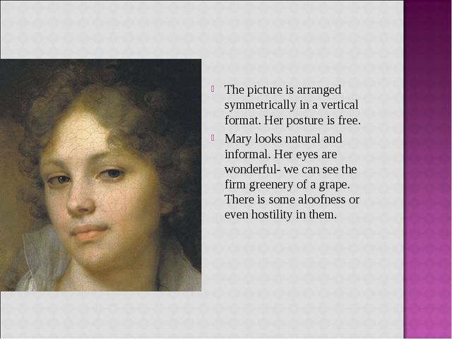 The picture is arranged symmetrically in a vertical format. Her posture is fr...