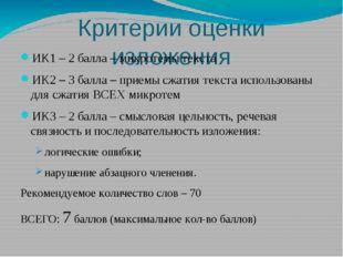 Критерии оценки изложения ИК1 – 2 балла – микротемы текста ИК2 – 3 балла – пр