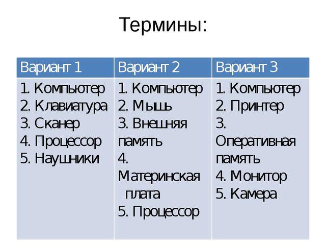 Термины: Вариант 1 Вариант 2 Вариант 3 1. Компьютер 2. Клавиатура 3. Сканер 4...