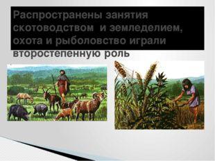 Распространены занятия скотоводством и земледелием, охота и рыболовство играл