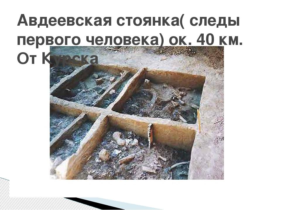 Авдеевская стоянка( следы первого человека) ок. 40 км. От Курска