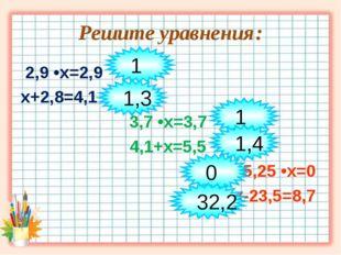 Решите уравнения: 2,9 •х=2,9 х+2,8=4,1 3,7 •х=3,7 4,1+х=5,5 5,25 •х=0 х-23,5=