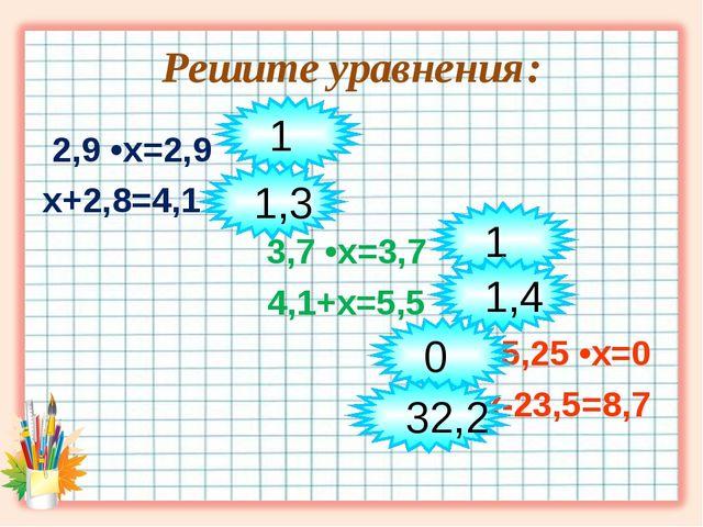 Решите уравнения: 2,9 •х=2,9 х+2,8=4,1 3,7 •х=3,7 4,1+х=5,5 5,25 •х=0 х-23,5=...