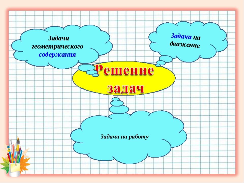 Задачи на движение Задачи на работу Задачи геометрического содержания