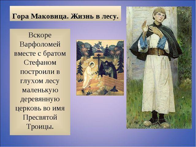 Гора Маковица. Жизнь в лесу. Вскоре Варфоломей вместе с братом Стефаном постр...