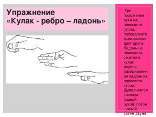 Упражнение «Кулак - ребро – ладонь» Три положения руки на плоскости стола, п