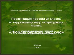 МБОУ «Средняя общеобразовательная школа №4 г. Тосно»  Презентация проекта 3