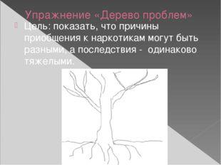 Упражнение «Дерево проблем» Цель: показать, что причины приобщения к наркотик