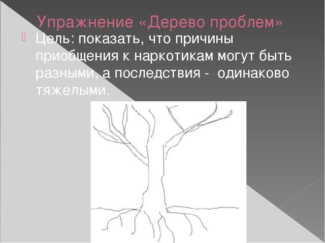 Упражнение «Дерево проблем» Цель: показать, что причины приобщения к наркотик...