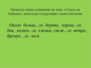 Написать мини-сочинение на тему «Отдых на Байкале», используя следующие слово