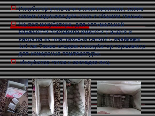 Инкубатор утеплили слоем поролона, затем слоем подложки для пола и обшили тка...