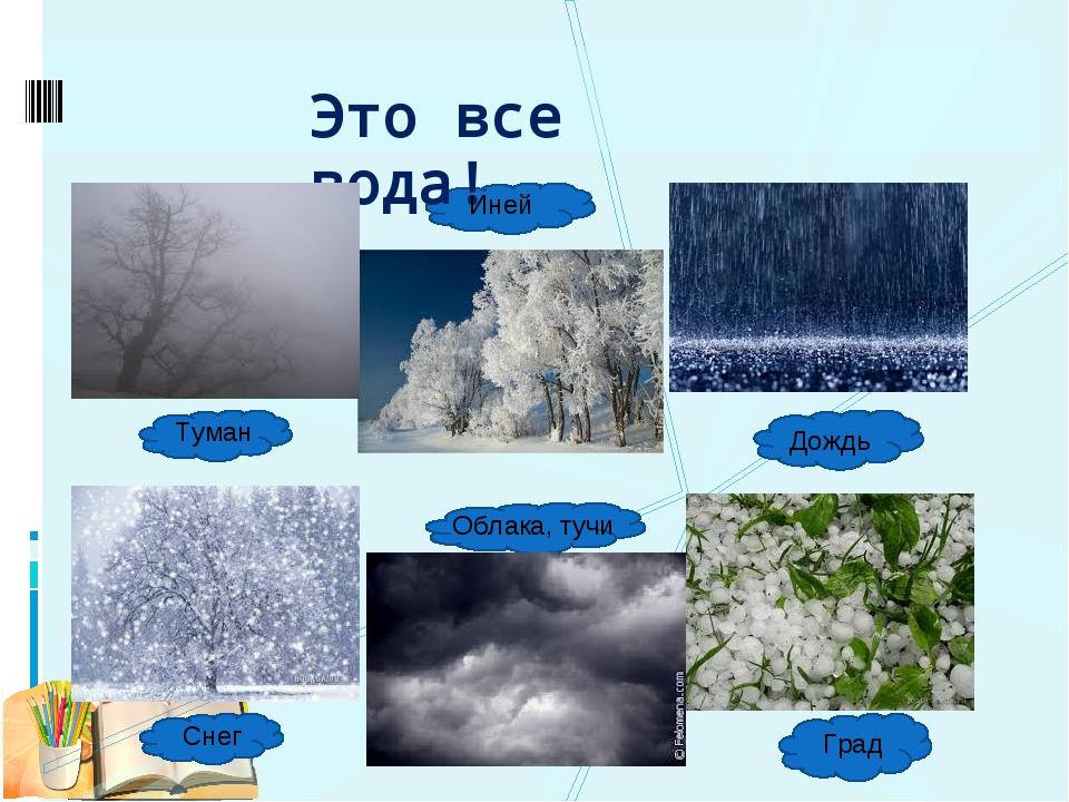 Это все вода! Туман Иней Дождь Снег Облака, тучи Град