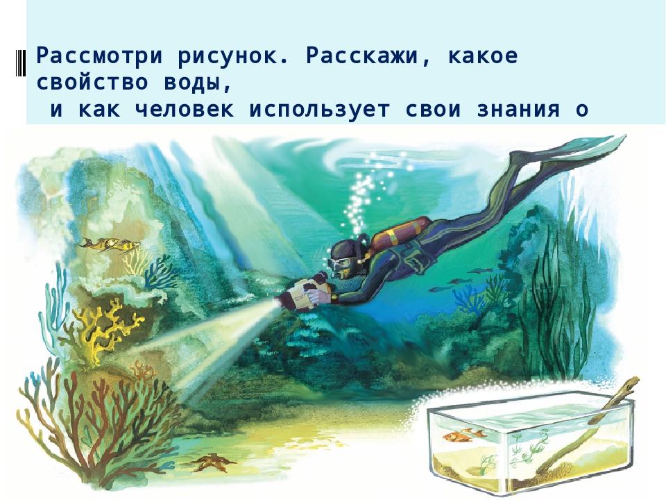 Рассмотри рисунок. Расскажи, какое свойство воды, и как человек использует св...