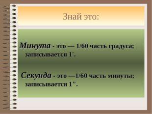 Знай это: Минута - это — 1/60 часть градуса; записывается 1'. Секунда - это —