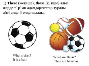 What's that? It is a ball What are those? They are bananas. 1) These (жекеше)