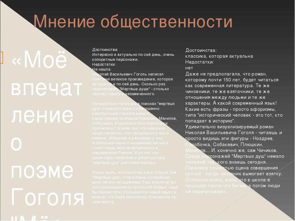"""Мнение общественности «Моё впечатление о поэме Гоголя """"Мёртвые души""""? мне оче..."""