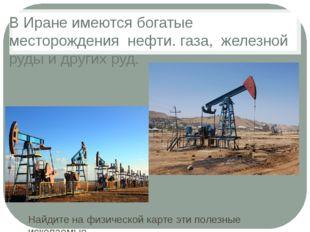 В Иране имеются богатые месторождения нефти. газа, железной руды и других руд