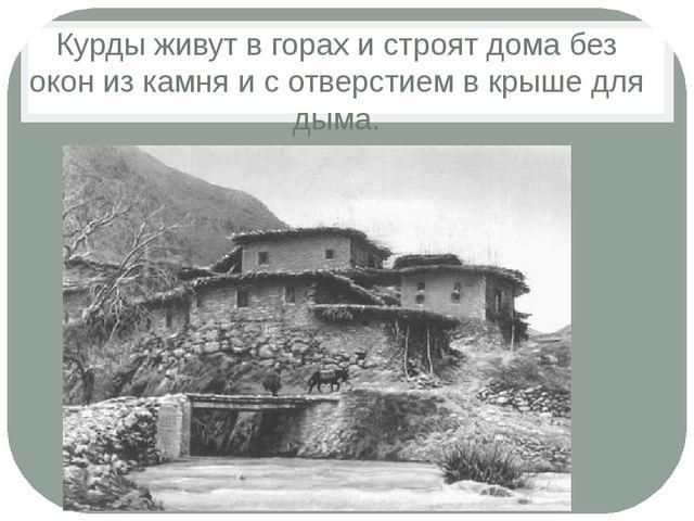 Курды живут в горах и строят дома без окон из камня и с отверстием в крыше дл...