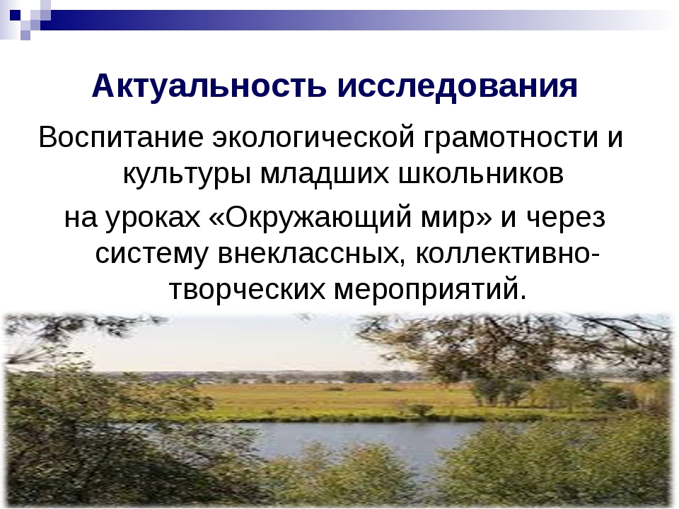 Актуальность исследования Воспитание экологической грамотности и культуры мл...
