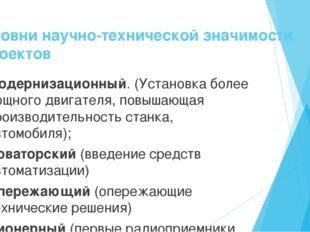 Уровни научно-технической значимости проектов Модернизационный. (Установка бо