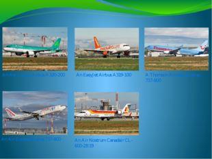 An Aer Lingus Airbus A320-200 An EasyJet Airbus A319-100 A Thomson Airways Bo