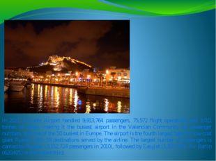 In 2011, Alicante Airport handled 9,913,764 passengers, 75,572 flight operati