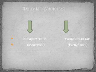 Формы правления Монархические Республиканские (Монархии) (Республики)