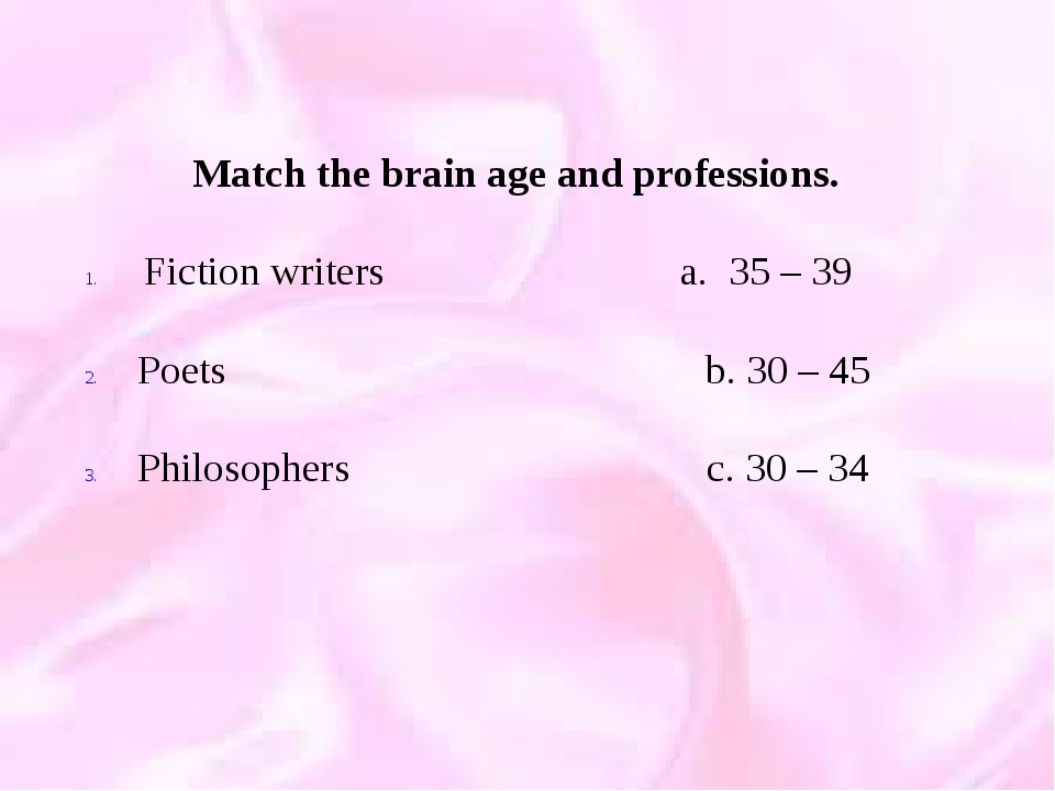 Match the brain age and professions. Fiction writers a. 35 – 39 Poets b. 30...