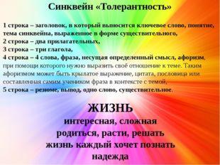 Синквейн «Толерантность» 1 строка – заголовок, в который выносится ключевое с