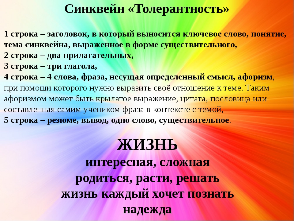 Синквейн «Толерантность» 1 строка – заголовок, в который выносится ключевое с...