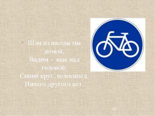 Шли из школы мы домой, Видим – знак над головой: Синий круг, велосипед, Ничег