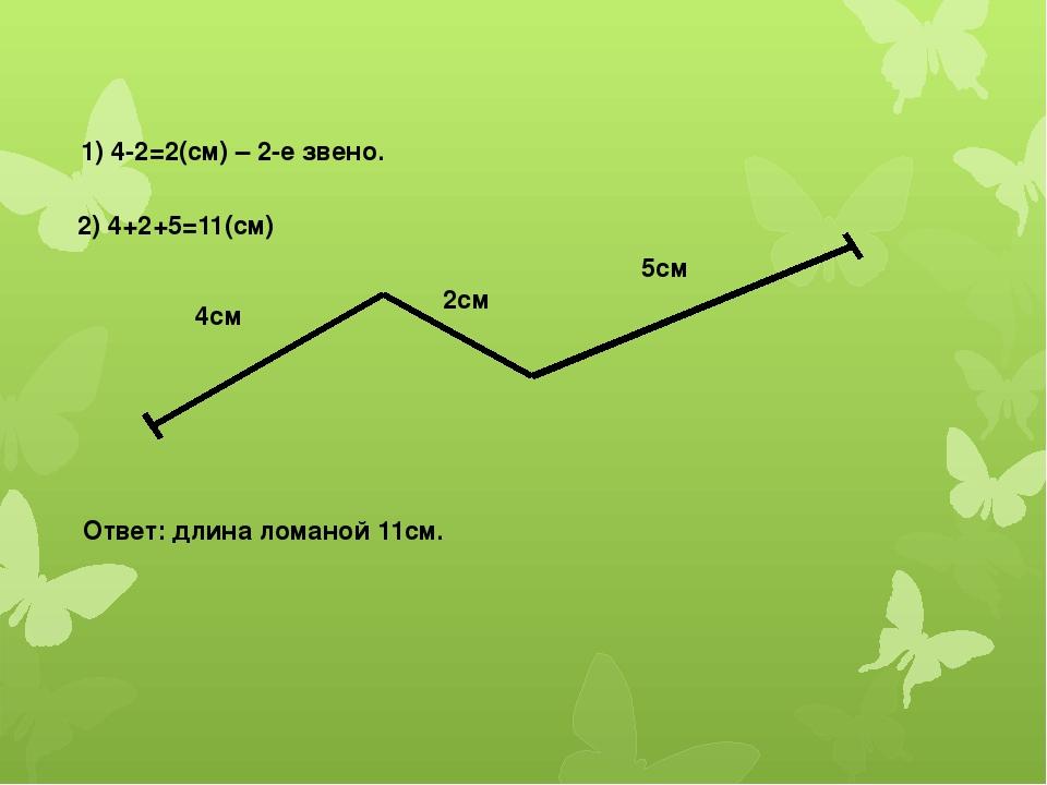 1) 4-2=2(см) – 2-е звено. 2) 4+2+5=11(см) 4см 2см 5см Ответ: длина ломаной 11...