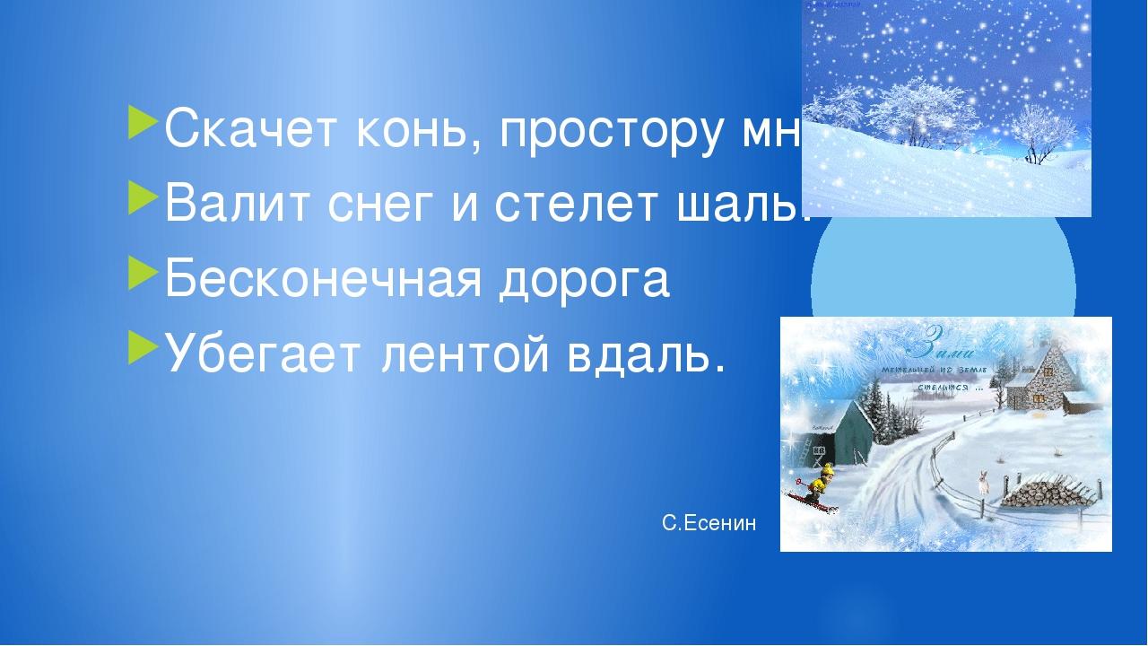 Скачет конь, простору много. Валит снег и стелет шаль. Бесконечная дорога Убе...