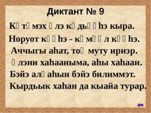 Диктант № 8 Киhи тыла - ох. Күлүгэр имнэнэр. Уйатыгар уу киирбит. Силиhэ суо